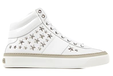 848216349de Jimmy Choo men's shoes high top leather trainers sneakers white UK size 9  131BELGRAVI