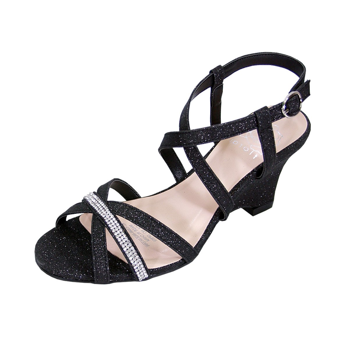 Floral Joanne Women Extra Wide Width Chic Rhinestone Strappy Wedge Party Heeled Sandals Black 9