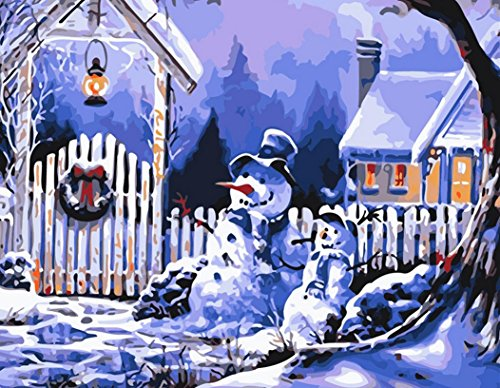 YEESAM ART Paint by Number Kits for Adults Kids White Christmas Gifts - Christmas Eve Snowman 16x20 inch