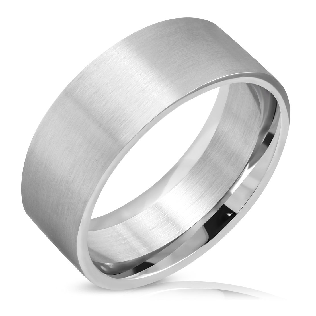 Stainless Steel Matte Finished Comfort Fit Flat Band Ring