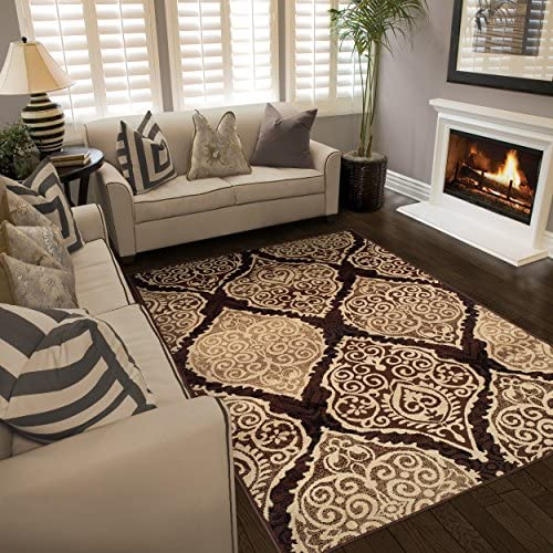 Superior Designer Amherst Collection Area Rug, 10mm Pile Height with Jute Backing, Scrolling Damask Medallion Pattern, Anti-Static, Water-Repellent Rugs – Mocha, 5 x 8 Rug