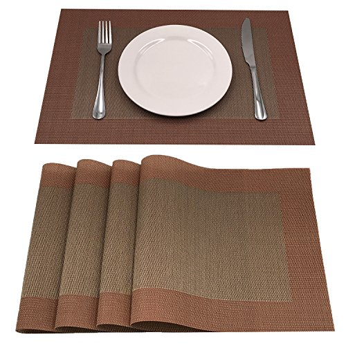 AMZMOO Placemats,Set of 4 Placemats,Dining Table Mat Anti-Slip,Heat Insulation PlaceMat,Table Mats set of 4 - Green Red Placemat