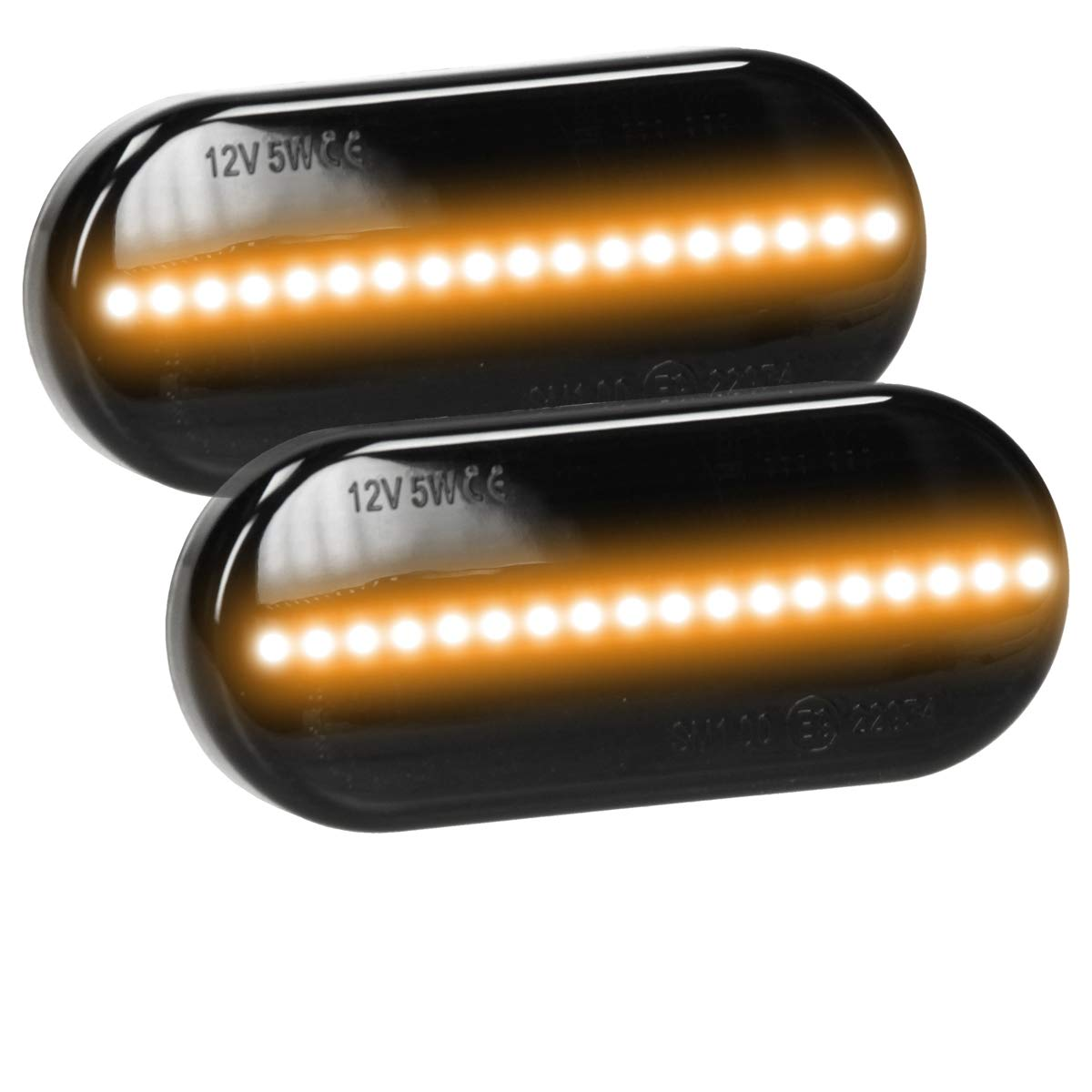 ECD Germany 2 pieces LED side indicator Smoke 12 V with E9 mark Plug /& Play technology black side indicator lamp Turn signal lamp Turn signal Turn indicator