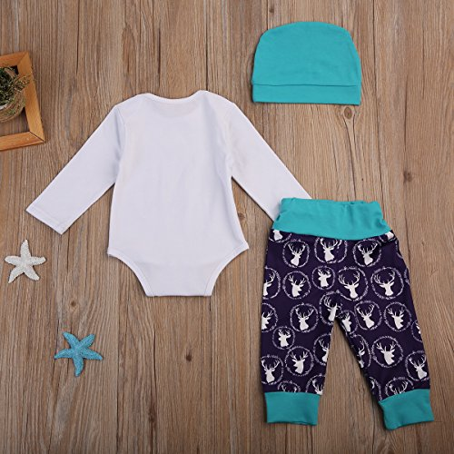 Review 3Pcs/Set Newborn Girl Outfit Baby Deer Daddy's Princess Romper Pants Hat Clothes Set (9-12months, Blue)