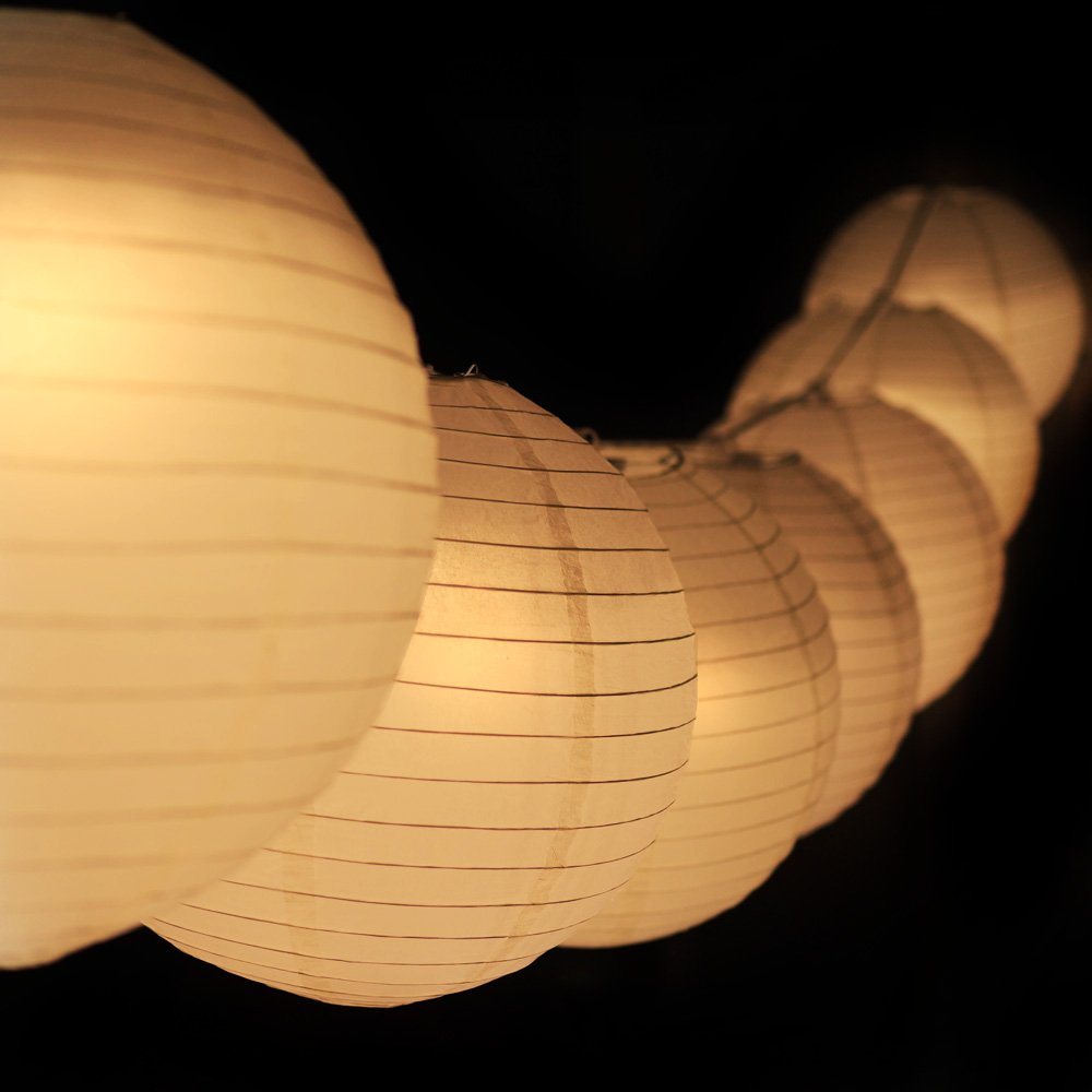 PaperLanternStore.com 12 Inch Warm White Paper Lantern Remote Controlled LED Lights (10-Pack Combo Kit)