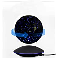 "Miraclun 6"" Magnetic Floating Levitation Colorful Globe Map Stars LED Night Lights Suspending in The Air"