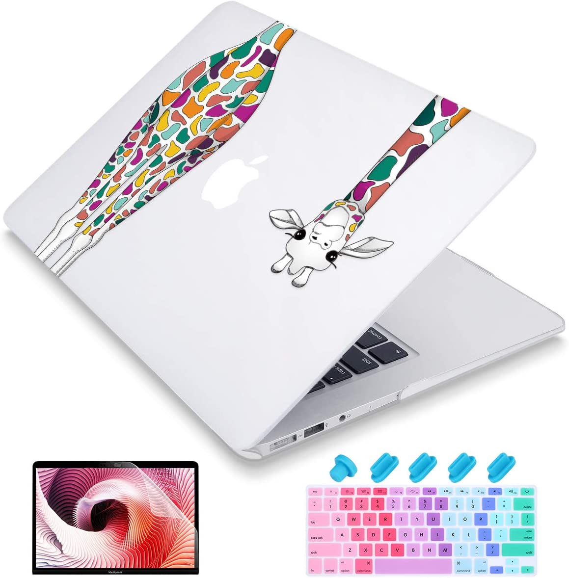 Maychen MacBook Air 13 Inch Case A1466 A1369 Old Version 2010 2017, 4 in 1 Keyboard Cover +Screen Protector + Dust Plug Matte Clear Plastic Hard Shell Case for Old Air 13 - Colorful Giraffe