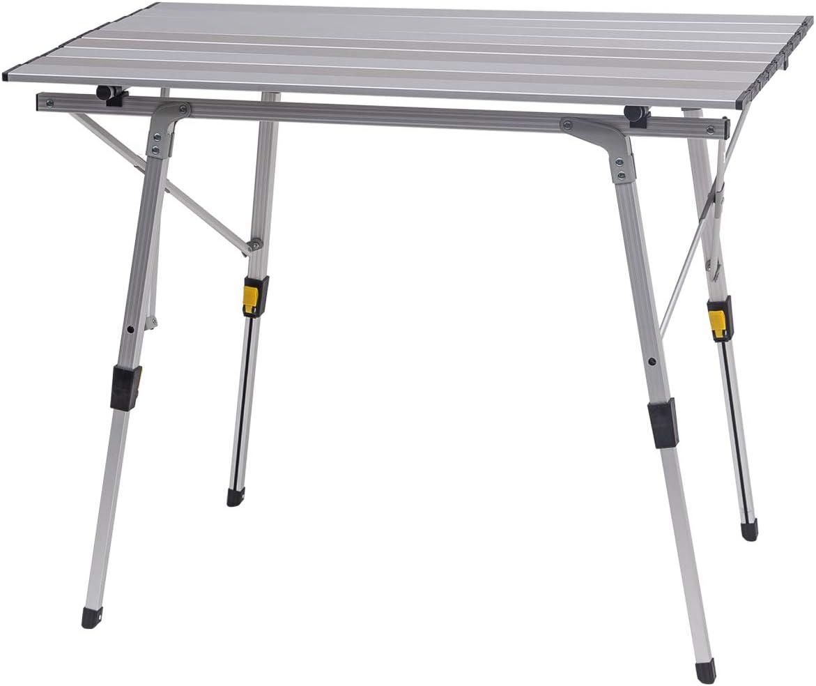 eSituro Mesa de Viaje Mesas de Picnic Mesa Plegable Multifuncional Mesa de Camping Mesa de Balcón de Aluminio de Altura Ajustable 90x52.2X(45-72) cm SCPT0015