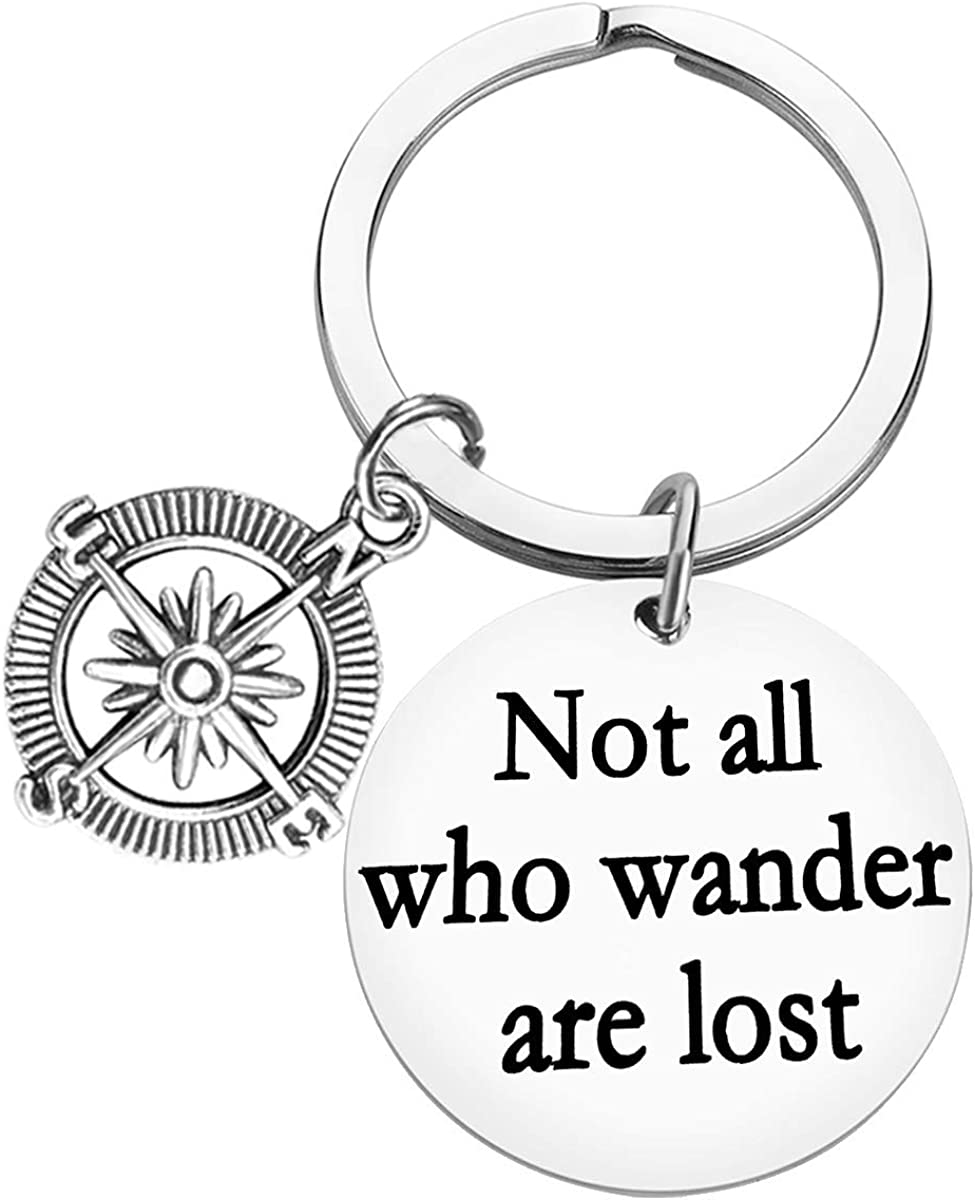Traveller Keychain Gift Traveling Gift Not All Who Wander Are Lost Keychain Travel Keychain Inspirational Keychain Jewelry Wanderlust Gift Birthday Christmas Gift for Traveller