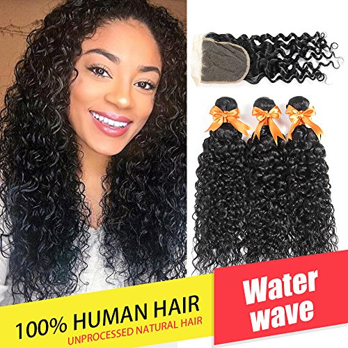 Brazilian Water Wave 3 Bundles with Closure Unprocessed Virgin Human Hair Bundles with Lace Closure 4x4 Free Part Can Be Dyed (18 20 22 with 18) by Xiangmei Hair
