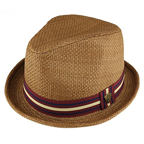 Trendy Apparel Shop Men's Summer Straw Upturned Brim Fedora With Grosgrain Hat Band - Brown - SM -