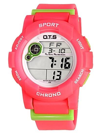 OTS - Reloj Digital Deportivo Impermeable Luminoso de Cuarzo con Alarma Cronómetro para Niños Niñas y Estudiantes - Color Rojo: Amazon.es: Relojes