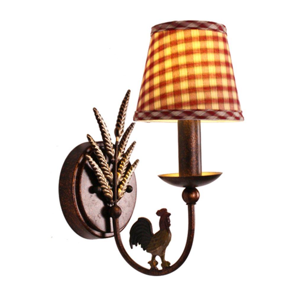 SEXY - Europäischer Stil Ländlich Ländlich Kinderzimmer Eisen Wandlampe Gitter Kreativ Wandleuchten Schlafzimmer Nachttisch Licht -Wandbeleuchtung Dekoration (Farbe : A)
