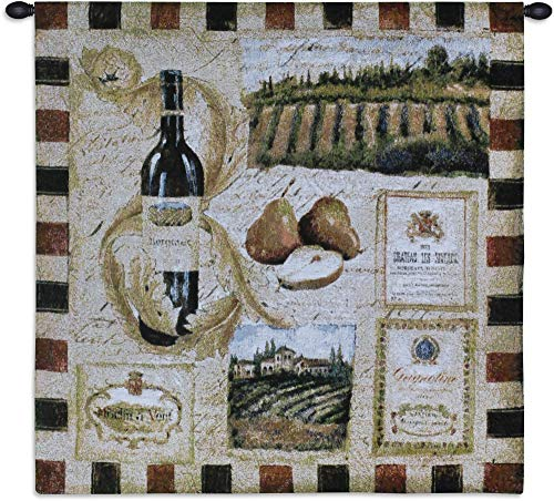 from The Wine Land I | Woven Tapestry Wall Art Hanging | Elements of Wine Labels Bottle Grapes Vineyard Motif Artwork | 100% Cotton USA 27X27