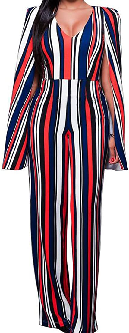 ARTFFEL-Women V Neck Long Cape Split Sleeve Open Back Striped Wide Leg Jumpsuit Romper