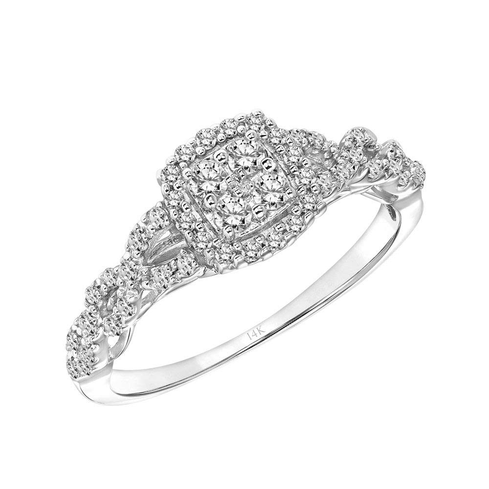 Brilliant Expressions 14K White Gold 1/3 Cttw Conflict Free Diamond Cushion Cluster Halo Twisted-Band Engagement Ring (I-J Color, I2-I3 Clarity), Size 7.5