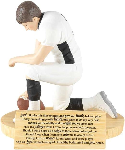 Through Christ Praying Football 5 inch Gray Resin Stone Table Top Figurine