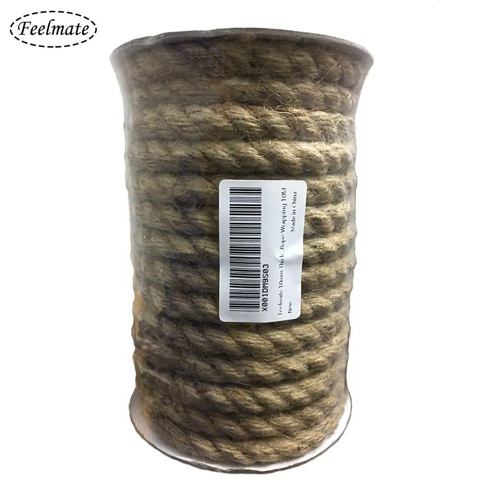 Manualidades y decoraci/ón Materiales para jardiner/ía Artes Feelmate 1 Rollo de Cordel de Yute Natural Vintage de Cuerda de c/á/ñamo para Bricolaje 10mm, marr/ón