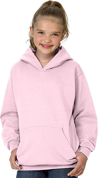 Pale Pink XS Hanes Youth ComfortBlend EcoSmart Pullover Hoodie