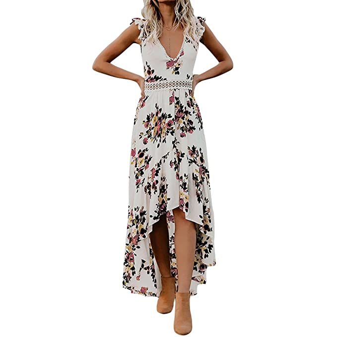 fc6a8d7db62b3 ESOEM Women V Neck Floral Print Swallowtail Dress High Low Elegant ...