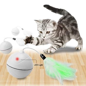 Wanfei Juguetes para Gatos interactivos,Carga USB automática Bola Juguetes para Gatos con LED giratoria automática, entretenida Interior Juguetes ...