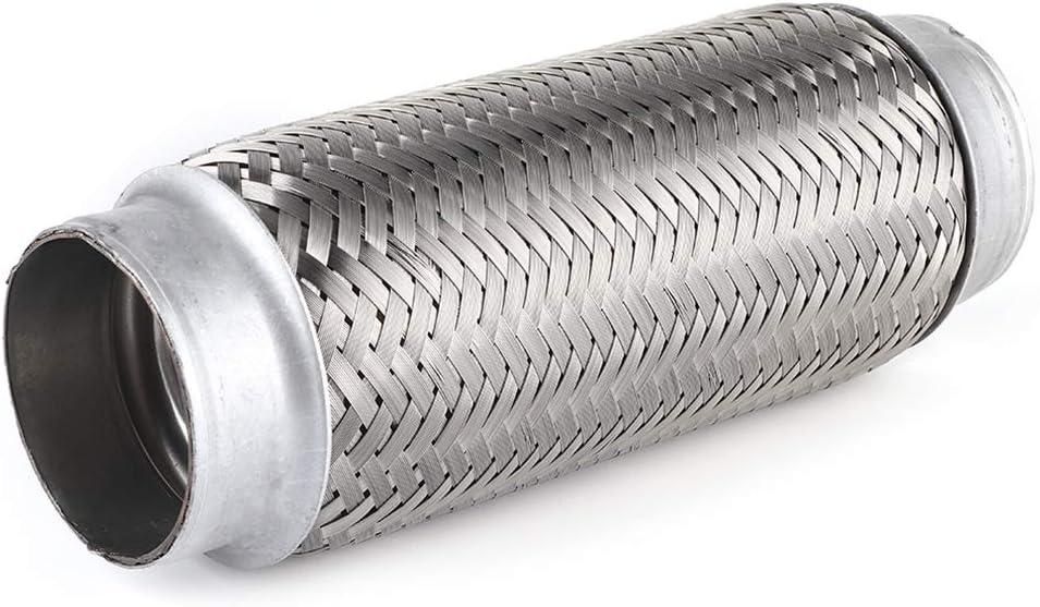 Tubo flexible de escape, tubo flexible de escape de acero inoxidable universal, tubo de junta flexible, accesorios de reparación de automóviles, plata(55MM*200MM)