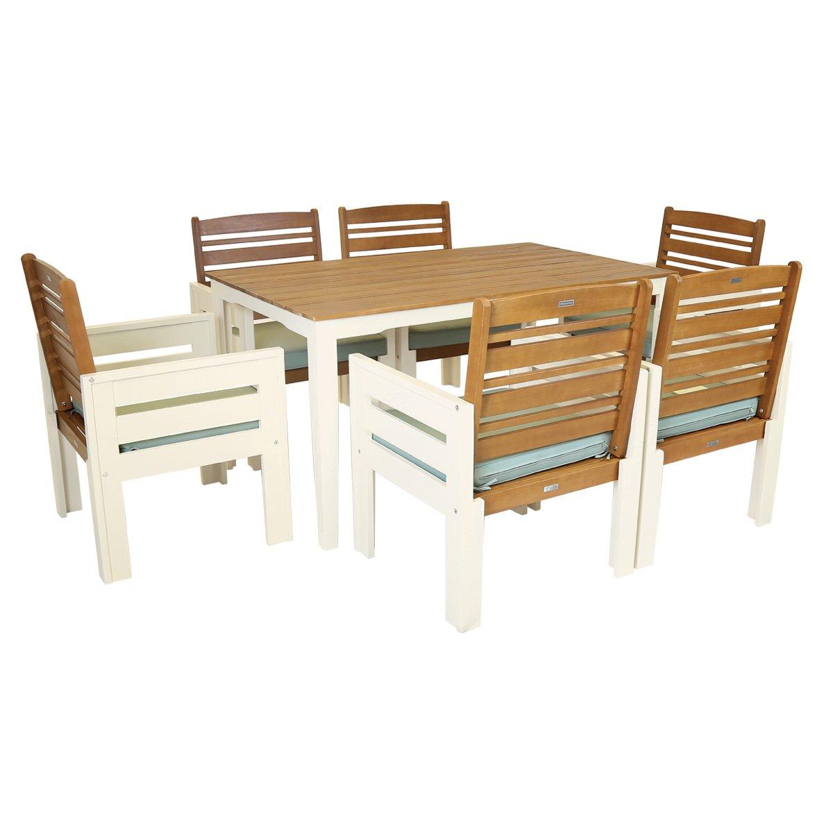 Charles Bentley National Trust Kingston - 7-tlg. Gartenmöbel-Set Tisch & 6 Stühle - Grün oder Creme - Creme
