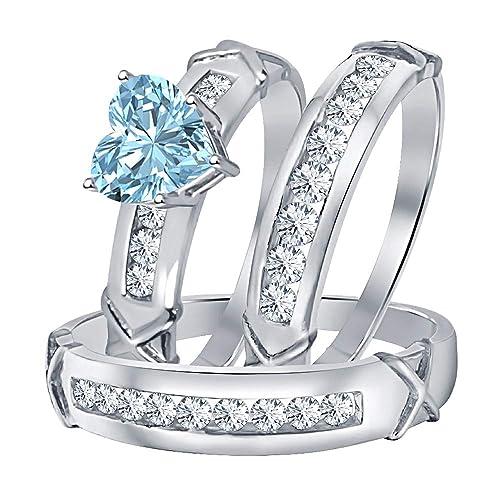 Amazon.com: Dabangjewels - Anillo de compromiso y boda para ...