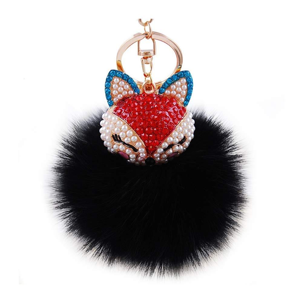 CDKJ Real Fox Haar-Ball mit Artificial Fox Kopf Inlay Perle Strass Schl/üsselanh/änger f/ür Damen Tasche oder Handy oder Auto-Anh/änger Hochwertig langlebig und eigenst/ändig Bunt