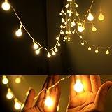 Guirlande Lumineuses Boules, 5,2 Mètres 50 LEDs Blanc Chaud, iLAZ Décoration Pour Nouvel An Noël Jardin Mariage Terrasse Pelouse Avec