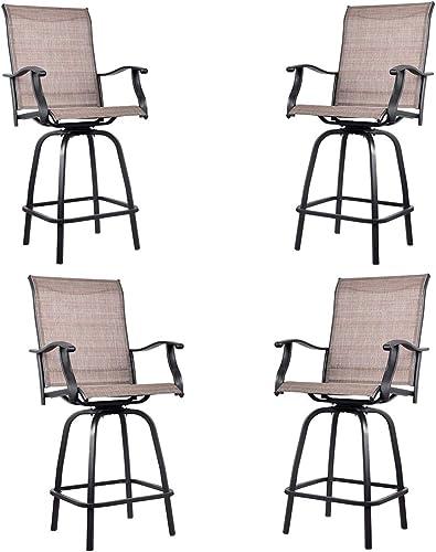 EMERIT Outdoor Swivel Bar Stools Bar Height Patio Chairs