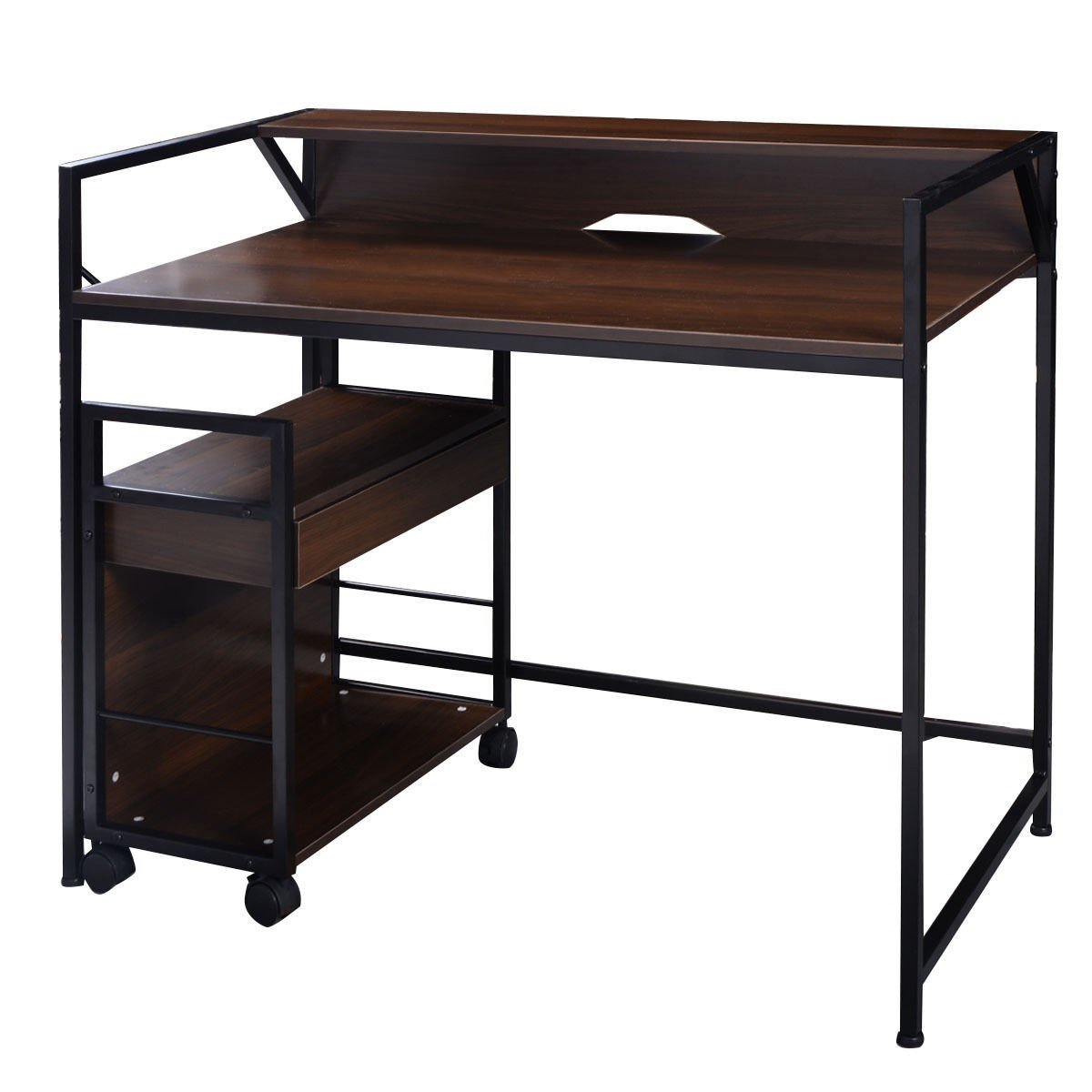 Apontus Simplistic Computer Desk Office Furniture with File Cabinet