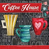 Coffee House 2019 12 x 12 Inch Monthly Square Wall Calendar & Coaster Set by Hopper Studios, Coasters Drink Roasted Coffeehouses