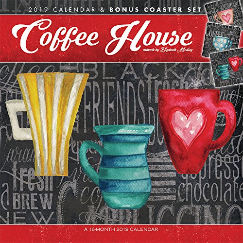 Coffee House 2019 12 x 12 Inch Monthly Square Wall Calendar & Coaster Set by Hopper Studios, Coasters Drink Roasted Coffeehouses by Inc. BrownTrout Publishers