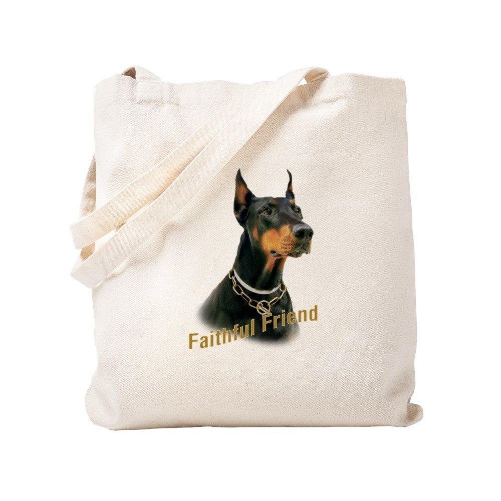 CafePress – Doberman Faithful friend – ナチュラルキャンバストートバッグ、布ショッピングバッグ S ベージュ 0273362599DECC2 B0773SMH2D S