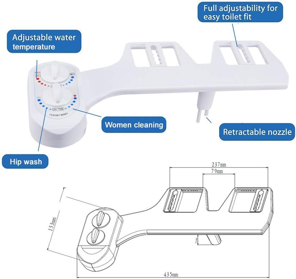 Ketamyy Bidet M/écanique pour Toilettes Butt Cleaner Jet deau Chaude et Froide Double Buse Non /électrique Pulv/érisation Autonettoyante avec Contr/ôle de Pression et Temp/érature WC Insert de Bidet