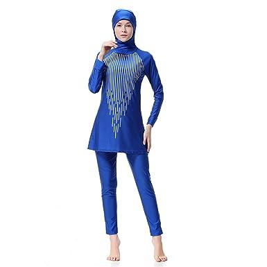 Dreamskull Damen Frauen Muslime Abaya Dubai Muslimische Islamische Burkini Badeanzug Bademode Schwimmanzug Swimsuit Hijab Lan