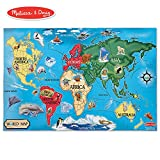 Melissa & Doug World Map Jumbo Jigsaw Floor Puzzle (Wipe-Clean Surface, Teaches Geography & Shapes, 33 Pieces, 24' L x 36' W)