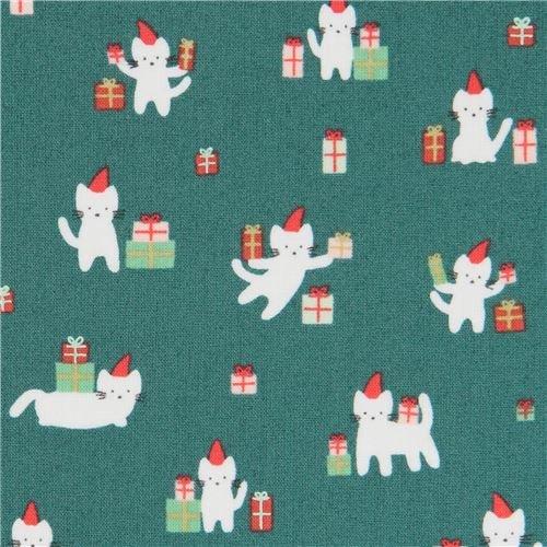 クリスマスプレゼントを持ったネコ柄深緑のコットン生地 by Dear Stella USA