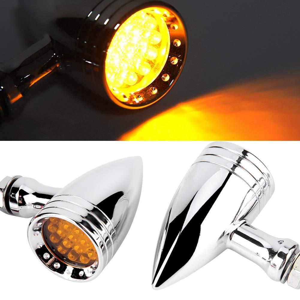 Qii lu 12V 2Pcs moto modificato retro indicatore di direzione luci a LED indicatore spia universale Chrome