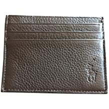 Ralph Lauren Polo Men Big Pony Logo Pebbled Leather Slim Card Case Brown