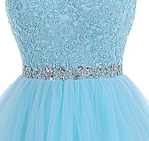 sky Tulle 361 2018 Homecoming Gowns Prom Dresses Women's Short Blue Sarahbridal Beading Party PnUwEqq6