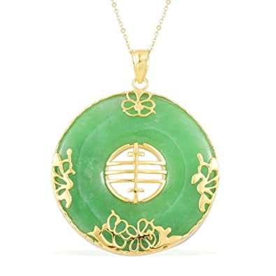Green Jade Chinese Character Feng Pendant With Chain In Yellow Gold
