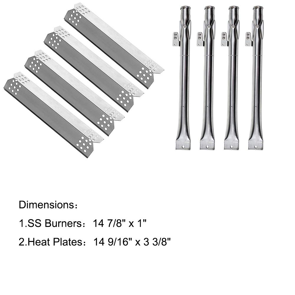LXhouse Gas Grill Replacement Parts Kit Stainless Steel Pipe Burner and Heat Plates for Home Depot Nexgrill 720-0830H, 720-0830D Model