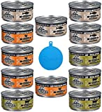 RedBarn Naturals Grain Free Canned Cat Food Stew in 3 Flavors – Salmon, Chicken, and Beef - 12 Cans Total, 5.5 Ounces Each - Plus 1 Pet Buddies Silicone Cat/Dog Cover - 13 Items Total