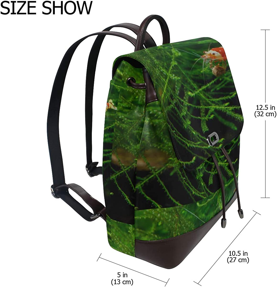 Crystal Red Shrimp Standing On Aquatic Moss Unique Shoulder Bags Womens Leather Backpacks Drawstring Waterproof Womans Fashion Bags Classic Leather Backpack For Women