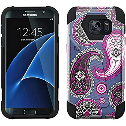Samsung Galaxy S7 Edge Hybrid Case Paisley Pink Black on Cyan Blue 2 Piece Style Silicone Case Cover with Stand for Samsung Galaxy S7 Edge Sales