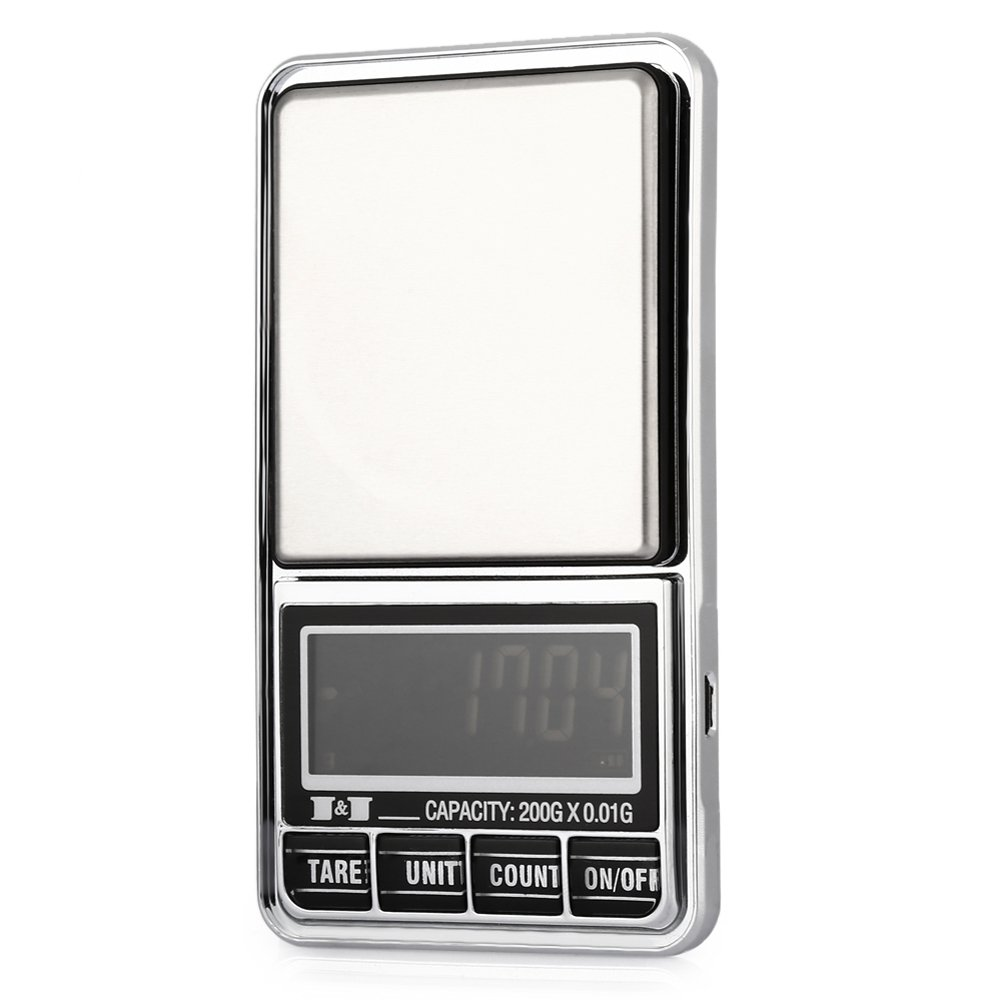 TOOGOO 200g 0.01 DIGITAL ELECTRONIC POCKET JEWELLERY SCALES 10 milligram Micro-gm With Micro-charging interface