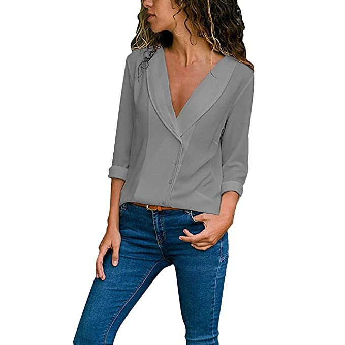 Amazon.com: Blusas para Mujer ShenPr Cuello V Bolsillos ...