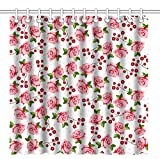 Pink and Purple Polka Dot Shower Curtain Wknoon 72 x 72 Inch Shower Curtain,Abstract Seamless Pink Rose Flowers and Polka Dots Floral Art,Waterproof Polyester Fabric Decorative Bathroom Bath Curtains